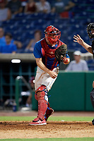 Clearwater Threshers catcher Henri Lartigue (8) throws to third base during a game against the Tampa Tarpons on July 31, 2018 at Spectrum Field in Clearwater, Florida.  Clearwater defeated Tampa 4-2.  (Mike Janes/Four Seam Images)