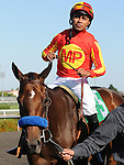 July 16, 2011.Martin Garcia, riding Irish Gypsy on his way to the winners circle after a photo finish declared him the winner of A Gleam Handicap at Hollywood Park, Inglewood, CA