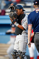 July 18, 2009:  Catcher Rene Garcia of the Tri-City ValleyCats during a game at Dwyer Stadium in Batavia, NY.  The ValleyCats are the Short-Season Class-A affiliate of the Houston Astros.  Photo By Mike Janes/Four Seam Images