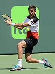 March 28 2017: Frederico Delbonis (ARG) loses to Kei Nishikori (JPN) 6-3, 4-6, 6-3 at the Miami Open being played at Crandon Park Tennis Center in Miami, Key Biscayne, Florida. ©Karla Kinne/Tennisclix/Cal Sports Media