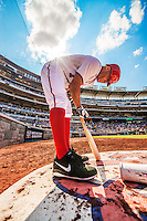 25 July 2013: Washington Nationals outfielder Scott Hairston prepares his bat on deck during a game against the Pittsburgh Pirates at Nationals Park in Washington, DC. The Nationals salvaged the last game of their series, winning 9-7 ending their 6-game losing streak. Mandatory Credit: Ed Wolfstein Photo *** RAW (NEF) Image File Available ***