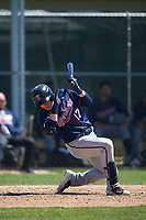 Minnesota Twins Travis Blankenhorn (17) avoids an inside pitch during a minor league Spring Training game against the Baltimore Orioles on March 17, 2017 at the Buck O'Neil Baseball Complex in Sarasota, Florida.  (Mike Janes/Four Seam Images)