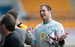 St Johnstone v Partick Thistle…29.10.16..  McDiarmid Park   SPFL<br />All smiles fro debut keeper Thorston Stuckmann<br />Picture by Graeme Hart.<br />Copyright Perthshire Picture Agency<br />Tel: 01738 623350  Mobile: 07990 594431