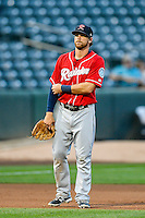 Tyler Smith (7) of the Tacoma Rainiers during the game against the Salt Lake Bees in Pacific Coast League action at Smith's Ballpark on June 14, 2016 in Salt Lake City, Utah. The Bees defeated the Rainiers 9-4.  (Stephen Smith/Four Seam Images)