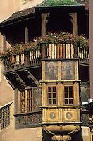 Europe/France/Alsace/68/Haut-Rhin/Colmar : Maison Pfister détail de la façade peinte 16 e