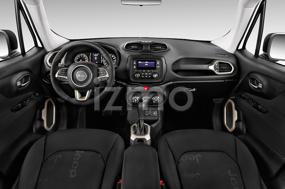 Stock photo of straight dashboard view of2017 JEEP Renegade Sport 5 Door Suv Dashboard