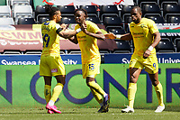 Admiral Muskwe of Wycombe Wanderers (C) celebrates his goal with team mates during the Sky Bet Championship match Swansea City and Wycombe Wanderers at Liberty Stadium, Swansea, Wales, UK. Saturday 17 April 2021