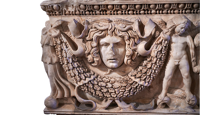 Roman relief garland  sculpted sarcophagus, style typical of Pamphylia, 3rd Century AD, Konya Archaeological Museum, Turkey. Against a white background.