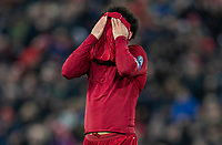 200312 --LIVERPOOL, March 12, 2020 Xinhua -- Liverpool s Mohamed Salah reacts during the UEFA Champions league Round of 16 second leg football match between Liverpool and Atletico Madrid in Liverpool, Britain, March 11, 2020. FOR EDITORIAL USE ONLY. NOT FOR SALE FOR MARKETING OR ADVERTISING CAMPAIGNS. NO USE WITH UNAUTHORIZED AUDIO, VIDEO, DATA, FIXTURE LISTS, CLUB/LEAGUE LOGOS OR LIVE SERVICES. ONLINE IN-MATCH USE LIMITED TO 45 IMAGES, NO VIDEO EMULATION. NO USE IN BETTING, GAMES OR SINGLE CLUB/LEAGUE/PLAYER PUBLICATIONS. Str/Xinhua SPBRITAIN-LIVERPOOL-FOOTBALL-UEFA CHAMPIONS LEAGUE-LIVERPOOL VS ATLETICO MADRID PUBLICATIONxNOTxINxCHN <br /> Liverpool 11/03/2020 Anfield <br /> Football Uefa Champions League 2019/2020 <br /> Round of 16 second leg <br /> Liverpool - Atletico Madrid <br /> Photo Imago/Insidefoto <br /> ITALY ONLY