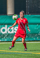 29 September 2013: Stony Brook University Seawolves Midfielder Caitlin Pfeiffer, a Senior from Holland, NY, in action against the University of Vermont Catamounts at Virtue Field in Burlington, Vermont. The Lady Seawolves defeated the Catamounts 2-1 in America East play. Mandatory Credit: Ed Wolfstein Photo *** RAW (NEF) Image File Available ***