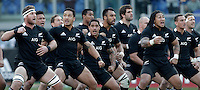 """Rugby: test match Italia vs Nuova Zelanda. Roma, stadio Olimpico, 17 novembre 2012..New Zealand players perform the Maori's """"Haka"""" dance prior to the start of an international rugby test match between Italy and New Zealand at Rome's Olympic stadium, 17 November 2012..UPDATE IMAGES PRESS/Riccardo De Luca"""