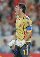 Spain goalkeeper Iker Casillas. Spain defeated Tunisia 3-1 in their FIFA World Cup Group H match at the Gottlieb-Daimler-Stadion, Stuttgart, Germany, June 19, 2006.