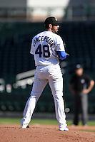 Mesa Solar Sox pitcher Gerardo Concepcion (48) during an Arizona Fall League game against the Surprise Saguaros on October 17, 2014 at Cubs Park in Mesa, Arizona.  Mesa defeated Mesa 5-3.  (Mike Janes/Four Seam Images)