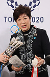 February 2, 2020, Tokyo, Japan -  Tokyo Governor Yuriko Koike speaks to reporters after the opening ceremony for the Ariake Arena in Tokyo on Sunday, February 2, 2020. Ariake Arena, 15,000 seats multiple purpose hall will be used for Olympic volleyball and Paralympic wheelchair basketball events.    (Photo by Yoshio Tsunoda/AFLO)