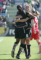 Kandace Wilson (9) celebrates with Tiffany Weimer (8) after her goal.  Washington Freedom defeated FC Gold Pride 4-3 at Buck Shaw Stadium in Santa Clara, California on April 26, 2009.