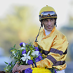 Nov. 03, 2012 - Arcadia, California, U.S - John Velazquez after riding Wise Dan to win the Breeders' Cup Mile at Santa Anita Park in Arcadia, CA. (Credit Image: © Jimmy Jones/Eclipse/ZUMAPRESS.com)