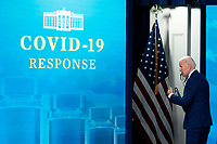 U.S. President Joe Biden departs after delivering remarks on the state of the Covid-19 vaccine in the South Court Auditorium of the White House in Washington, D.C., U.S., on Monday, March 29, 2021. <br /> CAP/MPI/RS<br /> ©RS/MPI/Capital Pictures