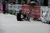 "One of the competitors has mechanical problems during the Abergavenny Festival of Cycling ""Para Grand Prix of Wales"" race on Sunday 17th 2016<br /> <br /> <br /> Jeff Thomas Photography -  www.jaypics.photoshelter.com - <br /> e-mail swansea1001@hotmail.co.uk -<br /> Mob: 07837 386244 -"