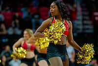COLLEGE PARK, MD - FEBRUARY 9: Maryland cheerleader performs during a game between Rutgers and Maryland at Xfinity Center on February 9, 2020 in College Park, Maryland.