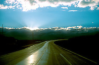 Sunset over roadway<br />