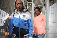 Tadese Shishay (1L) and Shishay Teweldemedihin, Eritrean refugees, are seen at the detention center Holot, in the Negev dessert in Israel. Around 350 African refugees are been held in Holot detention center, despite big demonstrations held in Tel Aviv and Jerusalem against the detention. Photo: Quique Kierszenbaum