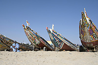 MAURETANIA, Nouakchott, atlantic ocean, fishing harbour, coast fisherman, moor man / MAURETANIEN, Nuakschott, Fischerhafen, atlantischer Ozean, Küstenfischer