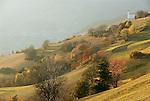 Italy, South Tyrol, Alto Adige, Dolomites, Laion at the entry to Val Gardena, autumn scenery | Italien, Suedtirol, Dolomiten, Lajen am Eingang zum Groednertal, Herbststimmung