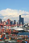 Seattle, Cruise ships bound for Alaska, via the Inside Passage, Port of Seattle, Seattle skyline, waterfront, Elliot Bay, Puget Sound,.