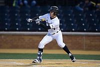 Nick DiPonzio (7) of the Wake Forest Demon Deacons squares to bunt against the Kent State Golden Flashes in game two of a double-header at David F. Couch Ballpark on March 4, 2017 in Winston-Salem, North Carolina.  The Demon Deacons defeated the Golden Flashes 5-0.  (Brian Westerholt/Four Seam Images)