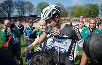 Niki Terpstra (NLD/OPQS) entering the press-zone in the Roubaix velodrome<br /> <br /> Paris-Roubaix 2014