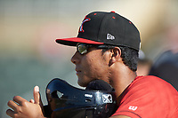 Lenyn Sosa (2) of the Kannapolis Intimidators watches from the dugout during the game against the Delmarva Shorebirds at Kannapolis Intimidators Stadium on May 19, 2019 in Kannapolis, North Carolina. The Shorebirds defeated the Intimidators 9-3. (Brian Westerholt/Four Seam Images)