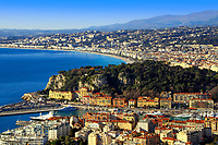 Panoramic aerial view of Nice, with the old town, harbor, and iconic Promenade des Anglais seafront, on the French Riviera (Côte d'Azur), France