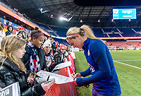 HARRISON, NJ - MARCH 08: Lindsey Horan #9 of the United States signs autographs during a game between Spain and USWNT at Red Bull Arena on March 08, 2020 in Harrison, New Jersey.