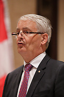 Canada's Transport Minister Marc Garneau  speaking at the Canadian Railway Club's Luncheon Conference, Friday September 9,2016.<br /> <br /> Photo : agence quebec presse