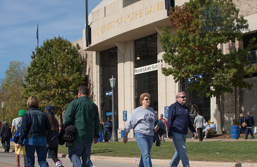 Oct 11, 2014; The south gate of Notre Dame Stadium before the North Carolina game. (Photo by Matt Cashore)
