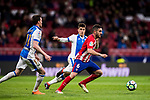 Jorge Resurreccion Merodio, Koke (R), of Atletico de Madrid is tackled by Unai Bustinza, Bustinza M (C), and Javier Eraso Goni of CD Leganes  during the La Liga 2017-18 match between Atletico de Madrid and CD Leganes at Wanda Metropolitano on February 28 2018 in Madrid, Spain. Photo by Diego Souto / Power Sport Images
