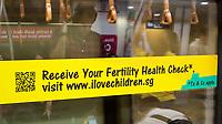 Pregnancy Testing Advertisement in MRT Mass Rapid Transit Car, Singapore.