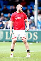 Photo: Richard Lane/Richard Lane Photography. Exeter Chiefs v Wasps. Gallagher Premiership. 14/04/2019.  Wasps' Brad Shields in Restart teeshirt.