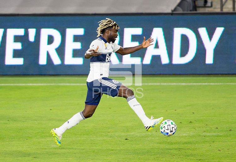 LOS ANGELES, CA - SEPTEMBER 23: Leonard Owusu #17 of the Vancouver Whitecaps moves with the ball during a game between Vancouver Whitecaps and Los Angeles FC at Banc of California Stadium on September 23, 2020 in Los Angeles, California.