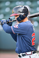 Designated hitter Jefry Ramos (22) of the Rome Braves during batting practice before a game against the Greenville Drive on Friday, April 13, 2018, at Fluor Field at the West End in Greenville, South Carolina. Rome won, 10-6. (Tom Priddy/Four Seam Images)