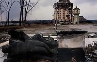 Vukovar / Croazia 1991.Una immagine scattata durante l'assedio di Vukovar.In primo una statua dedicata alle vittime della seconda guerra mondiale e sullo sfondo l'hotel Dunav gravemente danneggiato dai colpi d'artiglieria.50mila case distrutte, 22mila profughi, tre miliardi di danni e almeno 1700 morti, in gran parte civili. Vukovar è stata la prima città europea, dalla fine della guerra, ad essere distrutta da unoffensiva militare..Foto Livio Senigalliesi..Vukovar / Croatia 1991.One picture shot during the siege of Vukovar. In the background Hotel Dunav destroyed by heavy artillery. When Vukovar fell on 18 November 1991, hundreds of soldiers and civilians were massacred by Serb forces and thousands civilians were deported from the town and its surroundings. Most of the Vukovar was ethnically cleansed of its non-Serb population and became part of the self-declared Republic of Serbian Krajina. Several Serb military and political officials, including Miloevi, were later indicted and in some cases jailed for war crimes committed during and after the battle..Photo Livio Senigalliesi