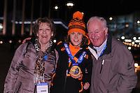 OLYMPICS: SOCHI: Medal Plaza, 10-02-2014, medaille uitreiking, 3000m Ladies, Ireen Wüst (NED) met haar ouders Jeannet en Wim, ©foto Martin de Jong