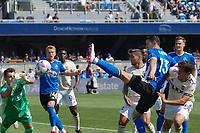 SAN JOSE, CA - AUGUST 8: Nathan Cardoso #13 of the San Jose Earthquakes shoots and scores during a game between Los Angeles FC and San Jose Earthquakes at PayPal Park on August 8, 2021 in San Jose, California.