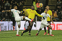 Luciano Narsingh of Swansea City (L) and Kyle Naughton of Swansea City (R) during the Premier League match between Watford and Swansea City at the Vicarage Road, Watford, England, UK. Saturday 30 December 2017
