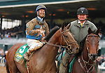 """October 03, 2015:  Brody's Cause and jockey Corey Lanerie win the 102nd running of the Claiborne Breeders' Futurity (Grade 1) $500,000  """"Win and You're In Juvenile Division"""" for trainer Dale Romans, and owner Albaugh Family Stable.  Candice Chavez/ESW/CSM"""