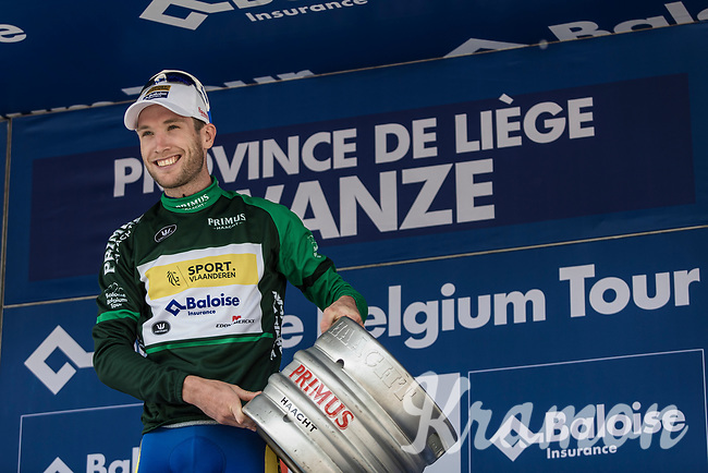 Thomas Sprengers (BEL/Sport Vlaanderen Baloise) on podium for receiving the green jersey.. and a barrel of beer....<br /> <br /> <br /> Baloise Belgium Tour 2018<br /> Stage 4:  Wanze - Wanze 147.3km
