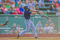 1 September 2013: Connecticut Tigers infielder Curt Powell, a native of Knoxville, TN, in action against the Vermont Lake Monsters at Centennial Field in Burlington, Vermont. The Lake Monsters fell to the Tigers 6-4 in 10 innings of NY Penn League action. Mandatory Credit: Ed Wolfstein Photo *** RAW Image File Available ****