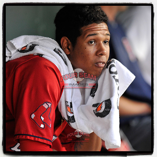 #OTD On This Day, April 23, 2016, starting pitcher Anderson Espinoza (23) of the Greenville Drive struck out three in 3.1 innings as Greenville lost to Columbia 7-3. Now with the San Diego Padres, Espinoza is trying to return from surgery. (Tom Priddy/Four Seam Images) #MiLB #OnThisDay #MissingBaseball