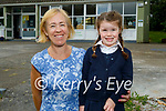 Robyn Costello on her first day at Flemby NS with Muinteoir Fiona