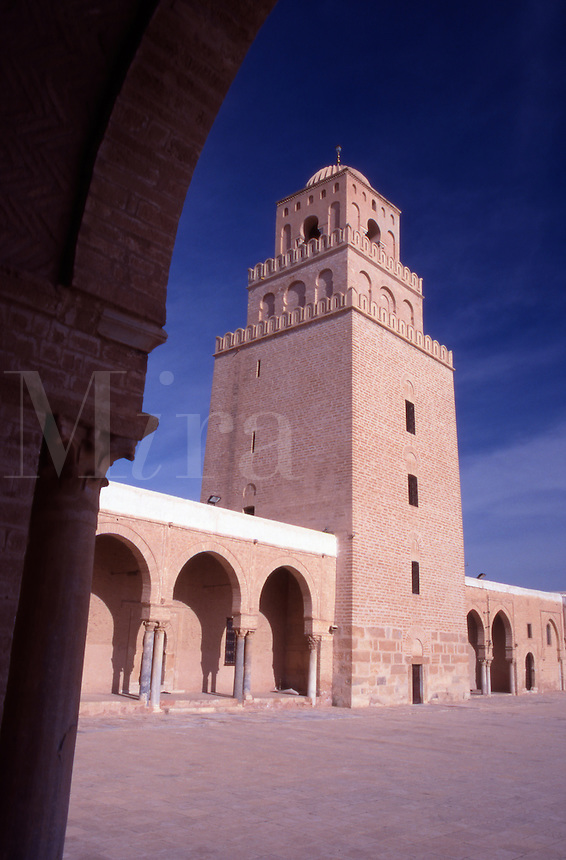 Tunisia. Kairoan. The Courtyard and Minaret of The Great Mosque.